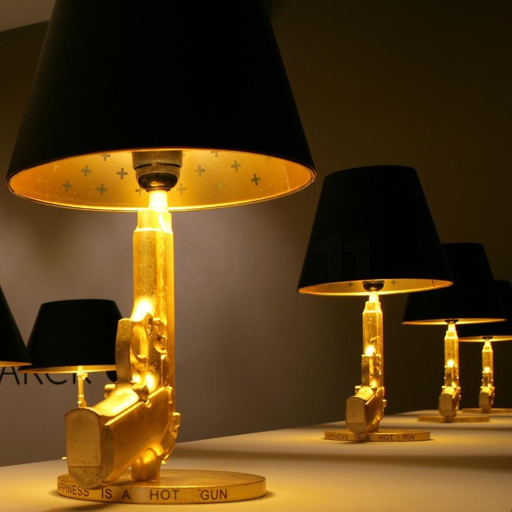 cheerhouse pistole tischlampe gold silber aluminium cool schreibtisch lichter fr jungen nachttischlampe schlafzimmer wohnzimmer leuchten d74 in cheerhouse - Coole Nachttischlampen