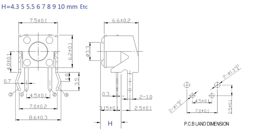 ᗑ1000 개/몫 Tact Switch 6x6x5mm right angle through 홀 4 pins
