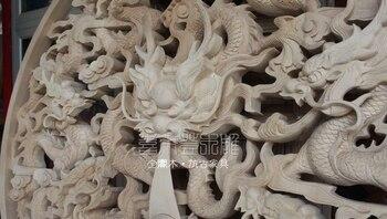 Китайская деревянная ручная работа резной девять Драконовых шариков для украшения экрана