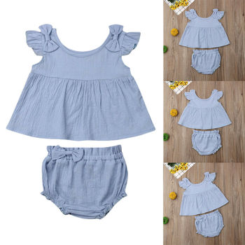 Newborn Baby Girl Clothes Solid Color Sleeveless Ruffle Bow Tops Short Pants 2pcs Outfits Summer Clothes