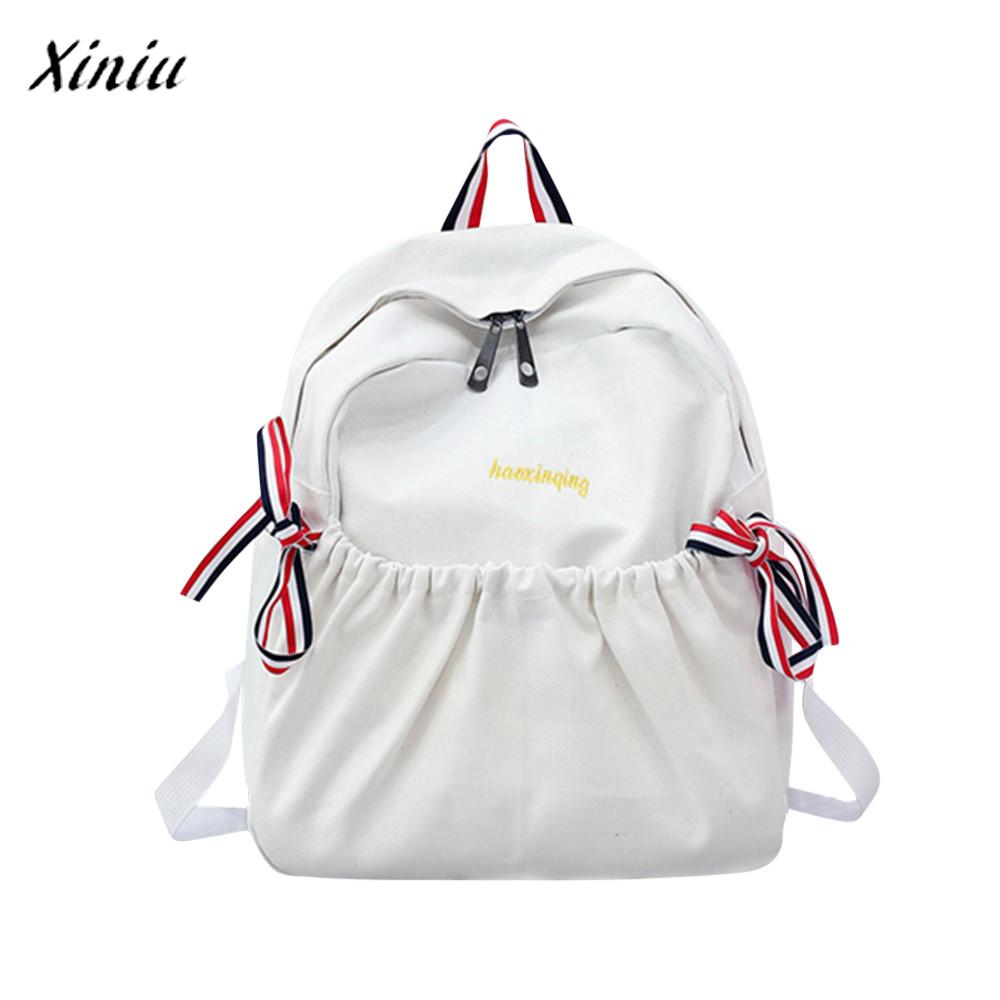 Bag Canvas Girl Bow Casual Backpack Double Shoulder Travel School Bags Mochila