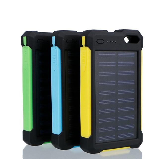 Universal 8000 mAh DC 5 V 2A Dual USB Banco de Potência Da Bateria Do Painel Solar À Prova D' Água À Prova de Choque Móvel Carregador Externo Para Telefone inteligente