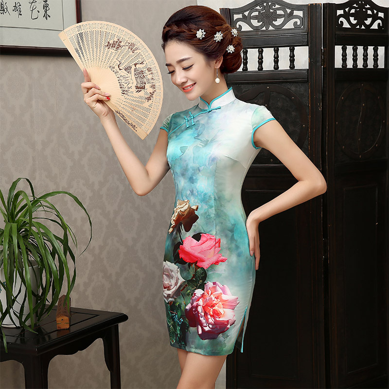 bbd72eb13 Large Flower Chinese Nation Traditional Dress Women Short Qipao Female Tang  Suit Cheongsam Dress 18