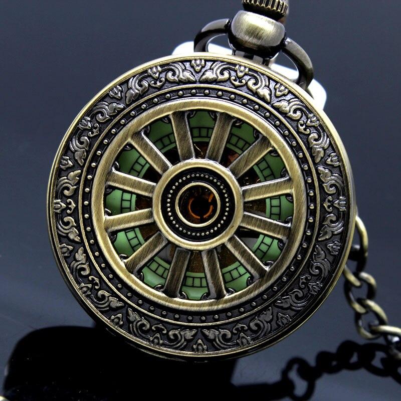 Glows in Dark Vintage Mechanical Skeleton Hollow Pendant Necklace Chain Analog Hand Wind Pocket Watches Men Women Kids Gifts