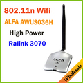 Новый 2016 Высокая Мощность АЛЬФА AWUS036H 1000 МВТ WIFI Беспроводной Сети USB Адаптер 5DB Антенна с RT3070Chipset, Оптовые Dropshipping