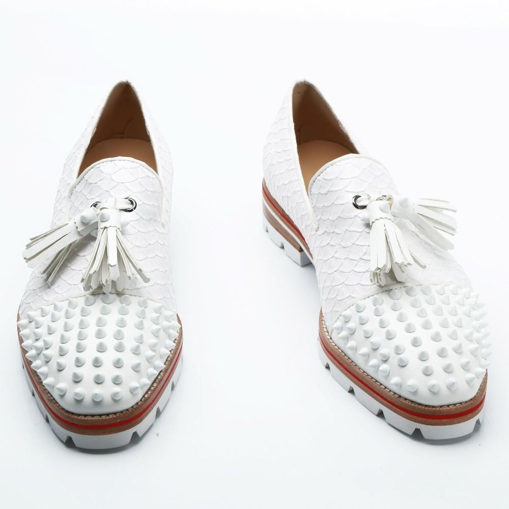 White Leather Men Wedding & Party Shoes Formal Spike Fringed Dress Shoes