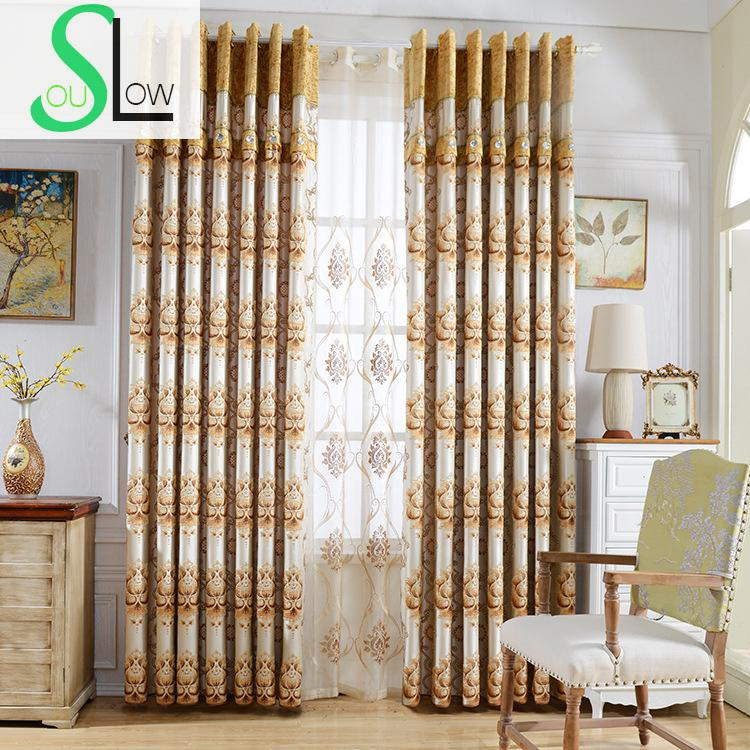 Slow Soul Chenille Curtain Embroidered Floral Europe Curtains Tulle Cortinas For Living Room Cortina Kitchen Bedroom Roman Pretty And Colorful Curtains