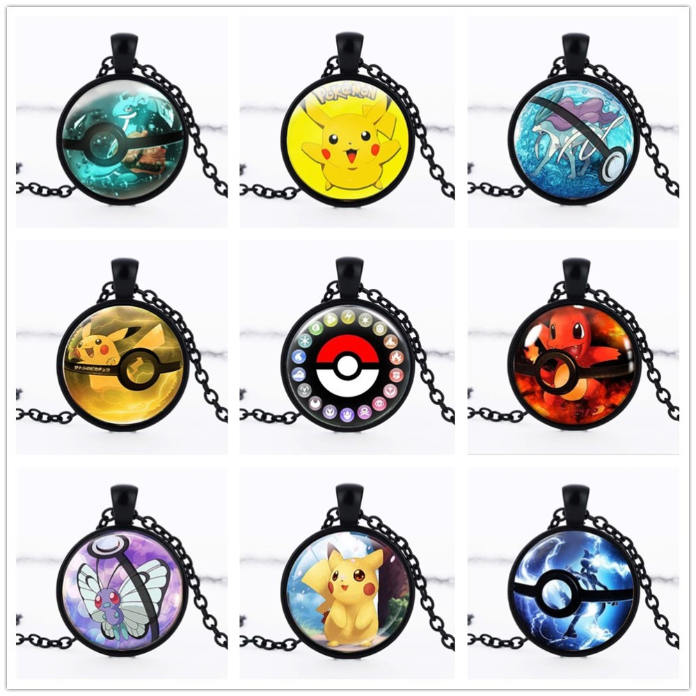 2016 New Pokemon Inspired Pendant Necklace Pokemon Go font b Anime b font Necklace Collares Jewelry