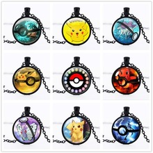 2016 New Pokemon Inspired Pendant Necklace Pokemon Go Anime Necklace Collares Jewelry Gift Glass Dome Jewelry Eevee Pokeball