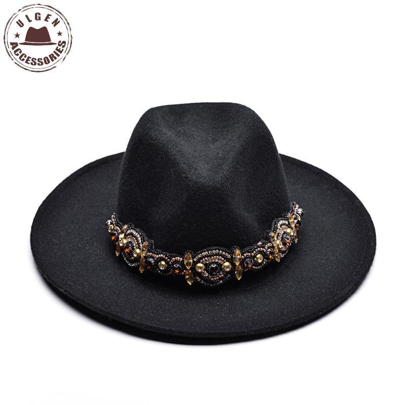 ULGEN Bohemia estilo mulheres inverno chapéu fedora senhoras esfriar preto fedoras  Jazz panamá chapéus de lã fea47916e64