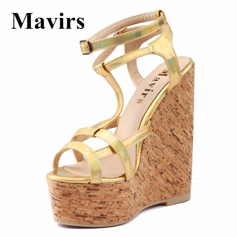 2017 Summer Fashion Wood Grain Patent Leather Ultra High Wedges High Heels Platform Gladiator Sandals Golden Women Shoes phyanic 2017 gladiator sandals gold silver shoes woman summer platform wedges glitters creepers casual women shoes phy3323