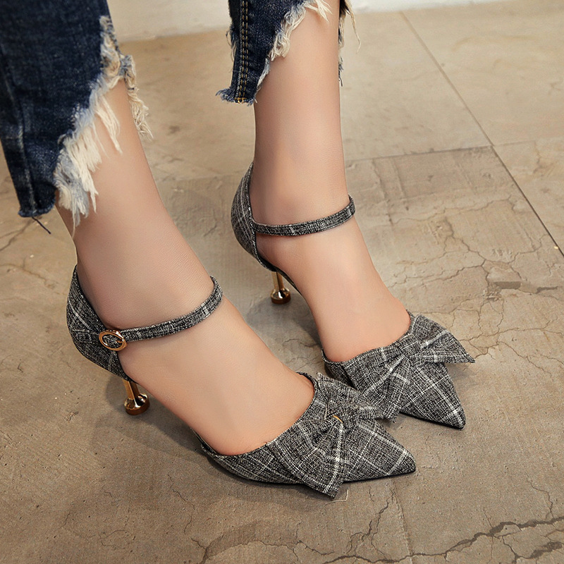 2018 spring and summer new pointed wild bow word buckle cat with fresh fine with in the womens shoes