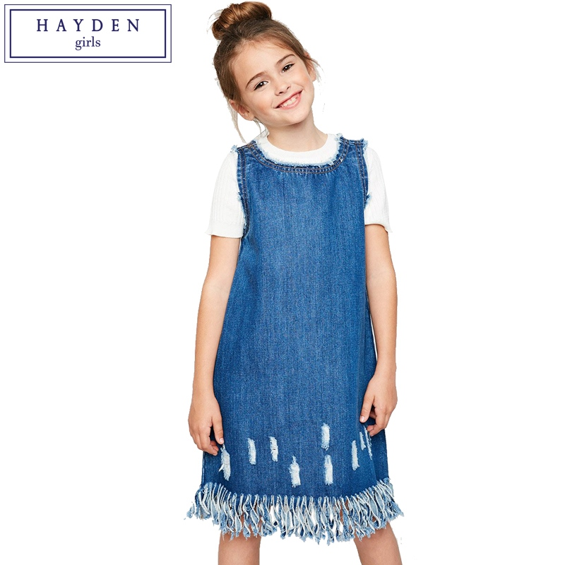 HAYDEN Girls Sleeveless Denim Shift Dress Size 7 to 14 Years Teen Girls Distressed Jeans Sundress Loose Fit High Quality brand men s cowboy jeans fashion blue jeans pant men plus sizes regular slim fit denim jean pants male high quality brand jeans