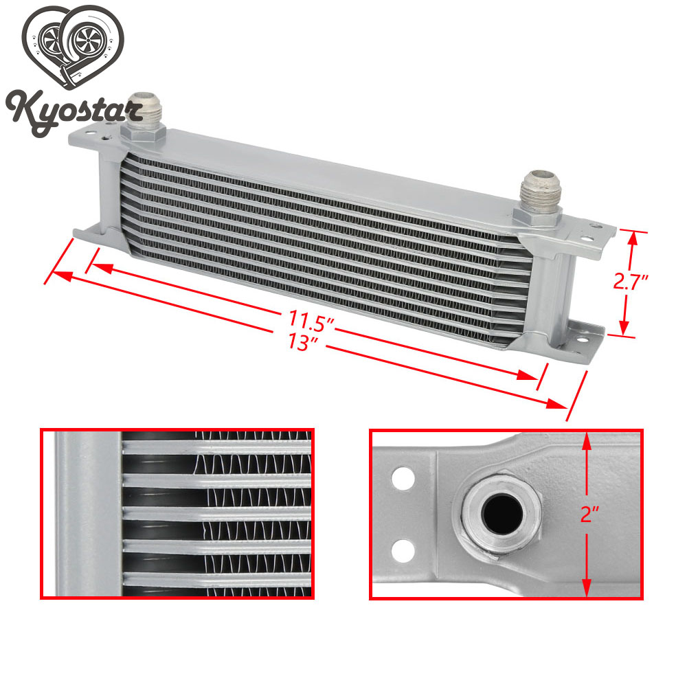 British Type 10 Row 10AN Engine Transmission Oil Cooler Kit Universal Aluminum Racing Car Oil Cooler