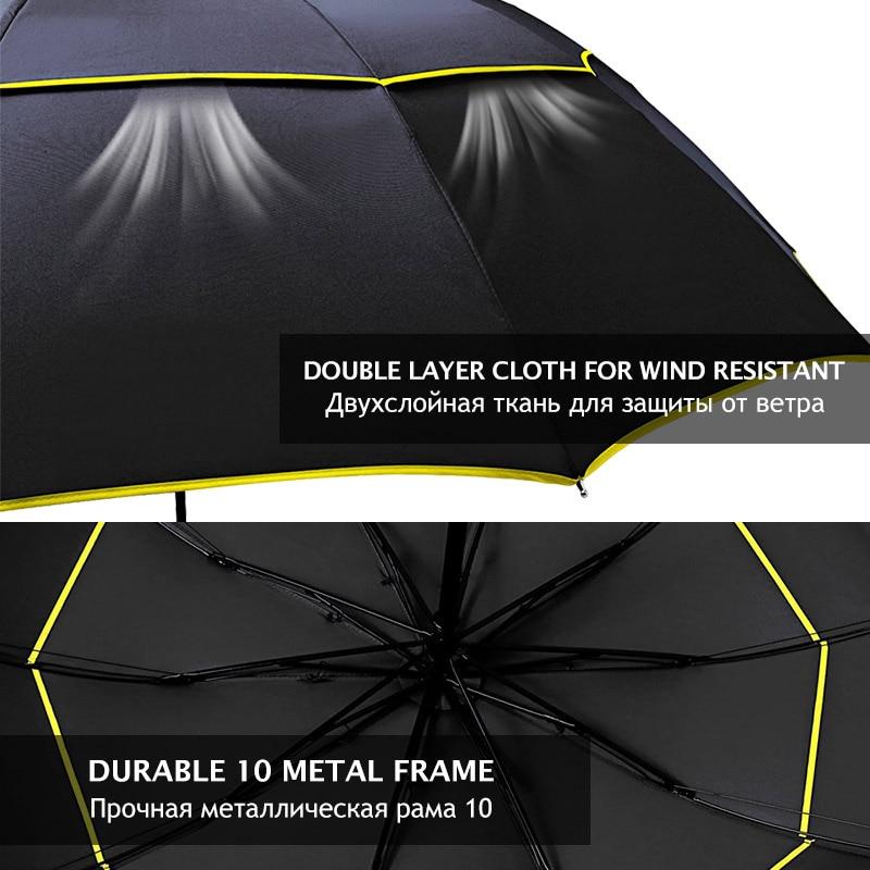 Image 4 - 130cm Umbrella Rain Women Men 3Folding Portable Double Layer Outdoor Large Paraguas Strong Windproof Business For Men UmbrellasUmbrellas   -