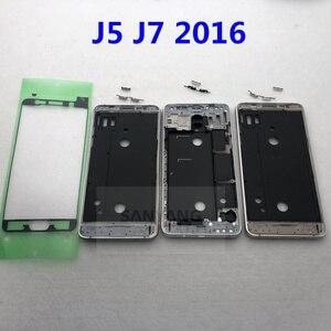 For Samsung Galaxy J5 J7 2016 J510 J510F J510FN J710F J710 Phone Housing Front J5 Middle Frame Bezel Chassis + Keys + Glue