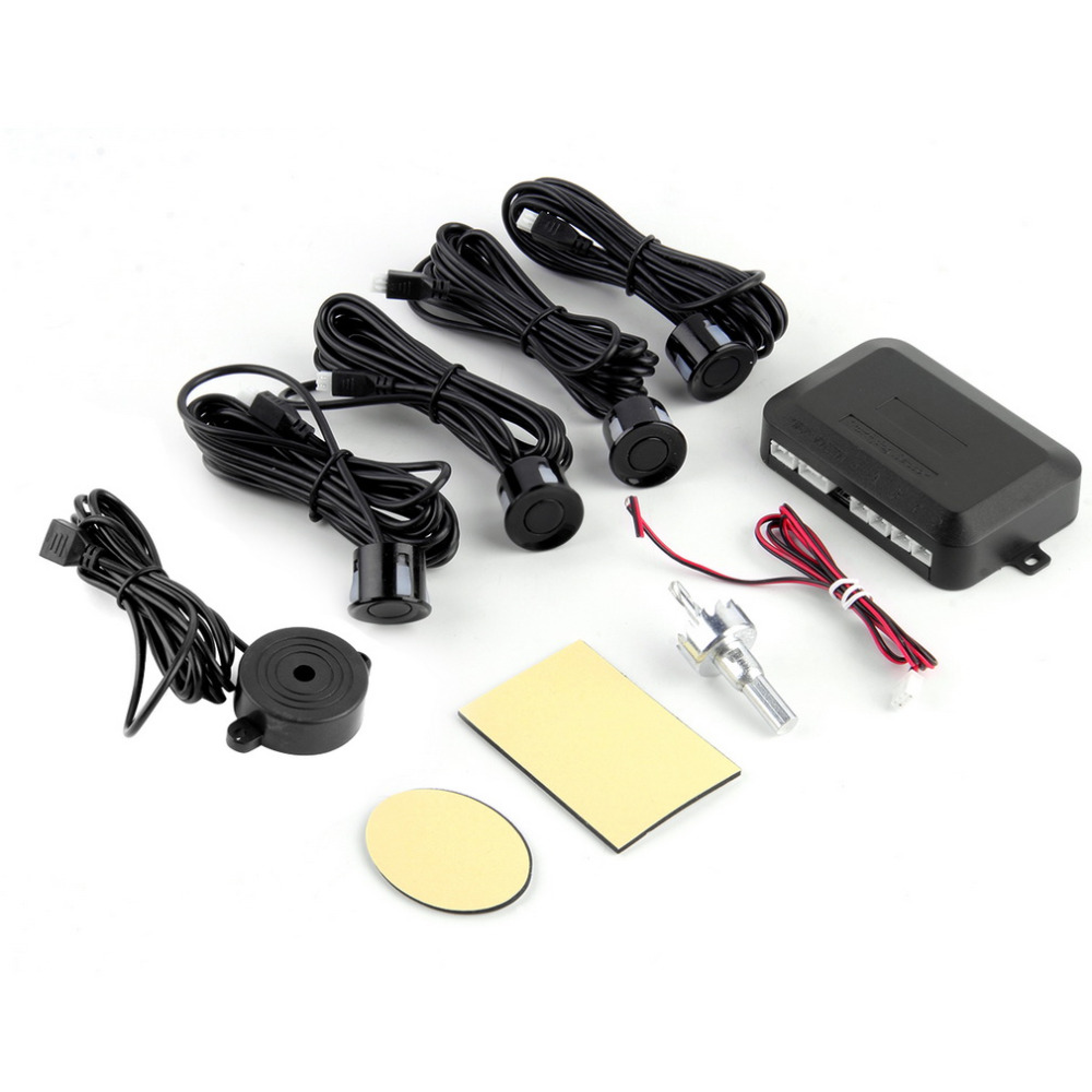 DC12V LED Car Parking Sensor  4 Sensors Monitor Auto Reverse Backup Radar Detector System Kit Sound Alert Alarm Indicator Probe~