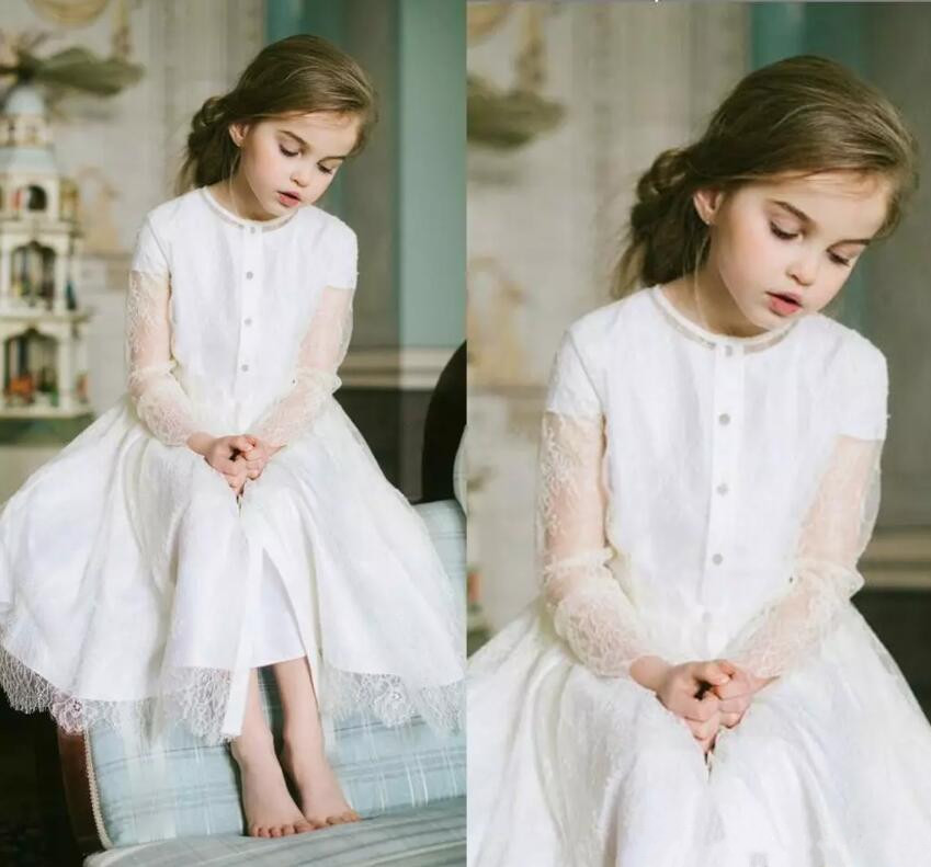 White Lace Long Sleeve Flower Girl Dresses for Wedding New Princess Baby Girls Party Communion Dresses