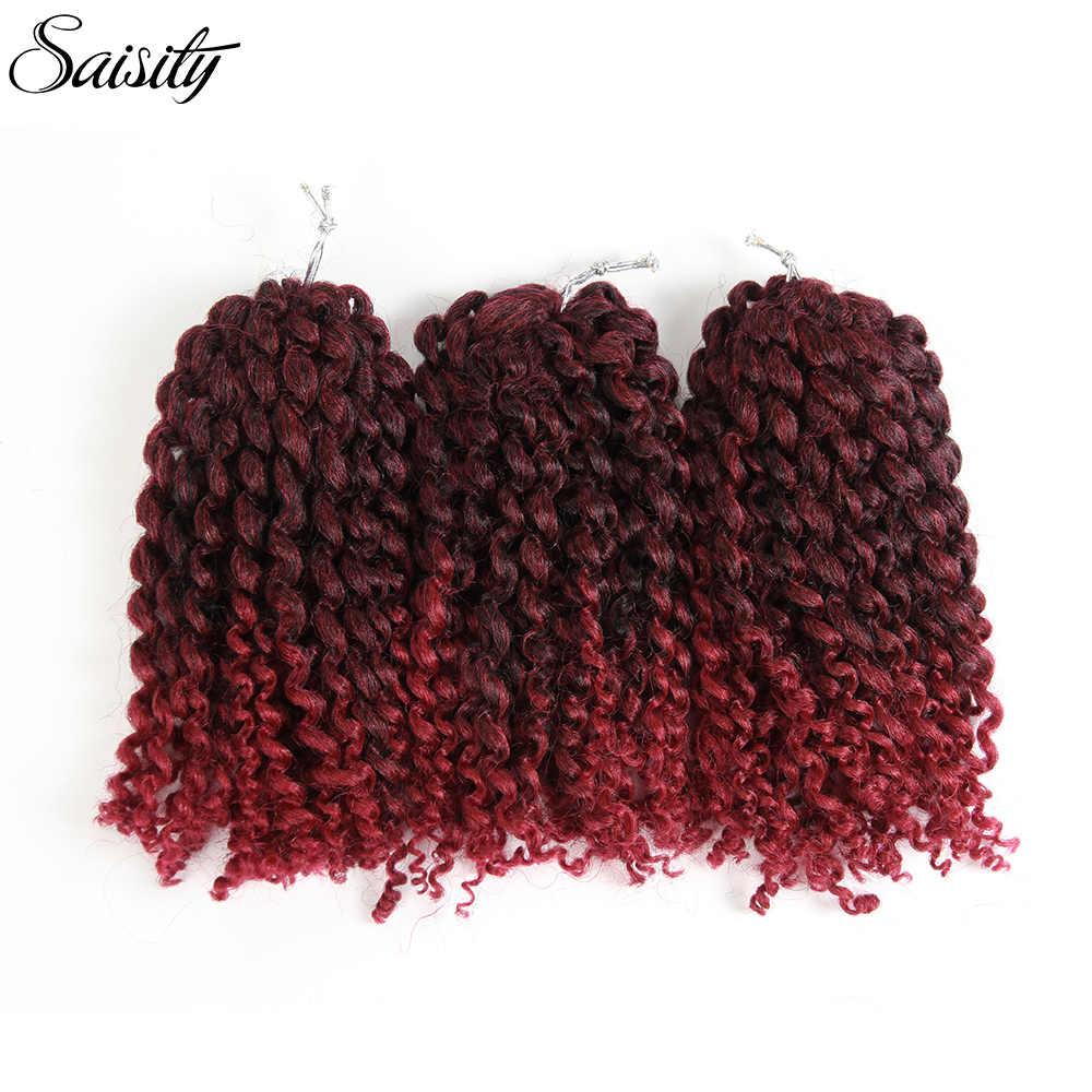 Saisity седые окрашенные синтетические накладные волосы marlybob jerry curl ямайский отскок крючком волосы афро кудрявые вьющиеся плетеные пряди