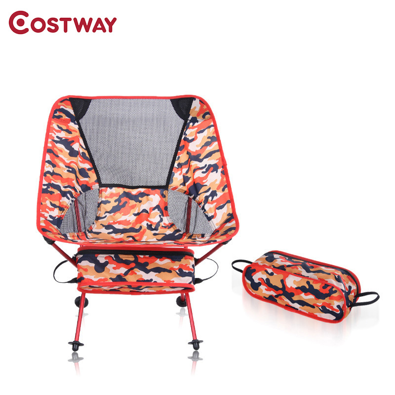 COSTWAY Outdoor Camping Folding Chair Camouflage Oxford Cloth Fishing Chair Ultra Light Portable Leisure Beach Chair W0210 camouflage outdoor comfortable folding fishing chair breathable moon chair leisure chair butterfly chair