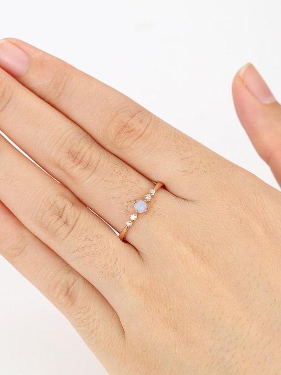 MYRAY природные круглой огранки Опал Diamond Обручение кольцо 14 К розовое золото Обручальное Свадебные кольца Юбилей подарок Для женщин ювелирны...