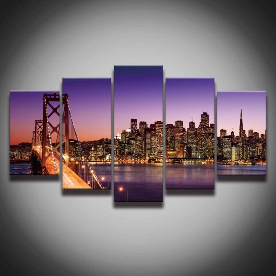 Impreso ciudad noche paisaje cuadro pintura lienzo marco puente ...