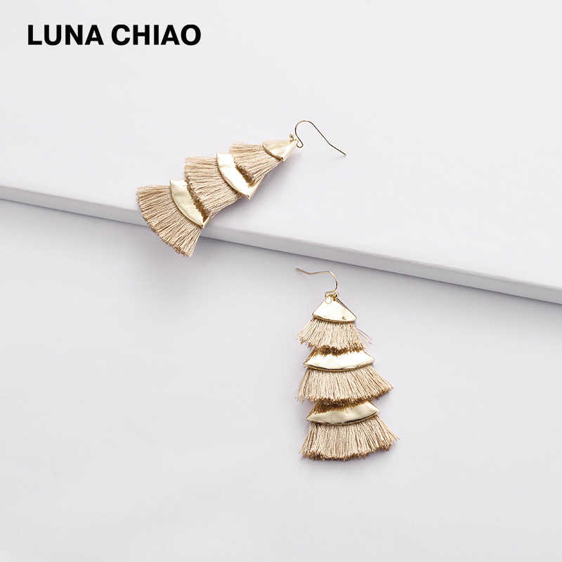 LUNA CHIAO Fashion Brincos Triple Layers Fringed Tassel Earring Women Drop Dangle Earrings Jewelry for Lady