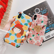 Anti-knock flower Phone Case For iphone XS Max XR Cases X 6 6S 7 8 Plus Cute Cartoon Dog Colorful Floral Cover