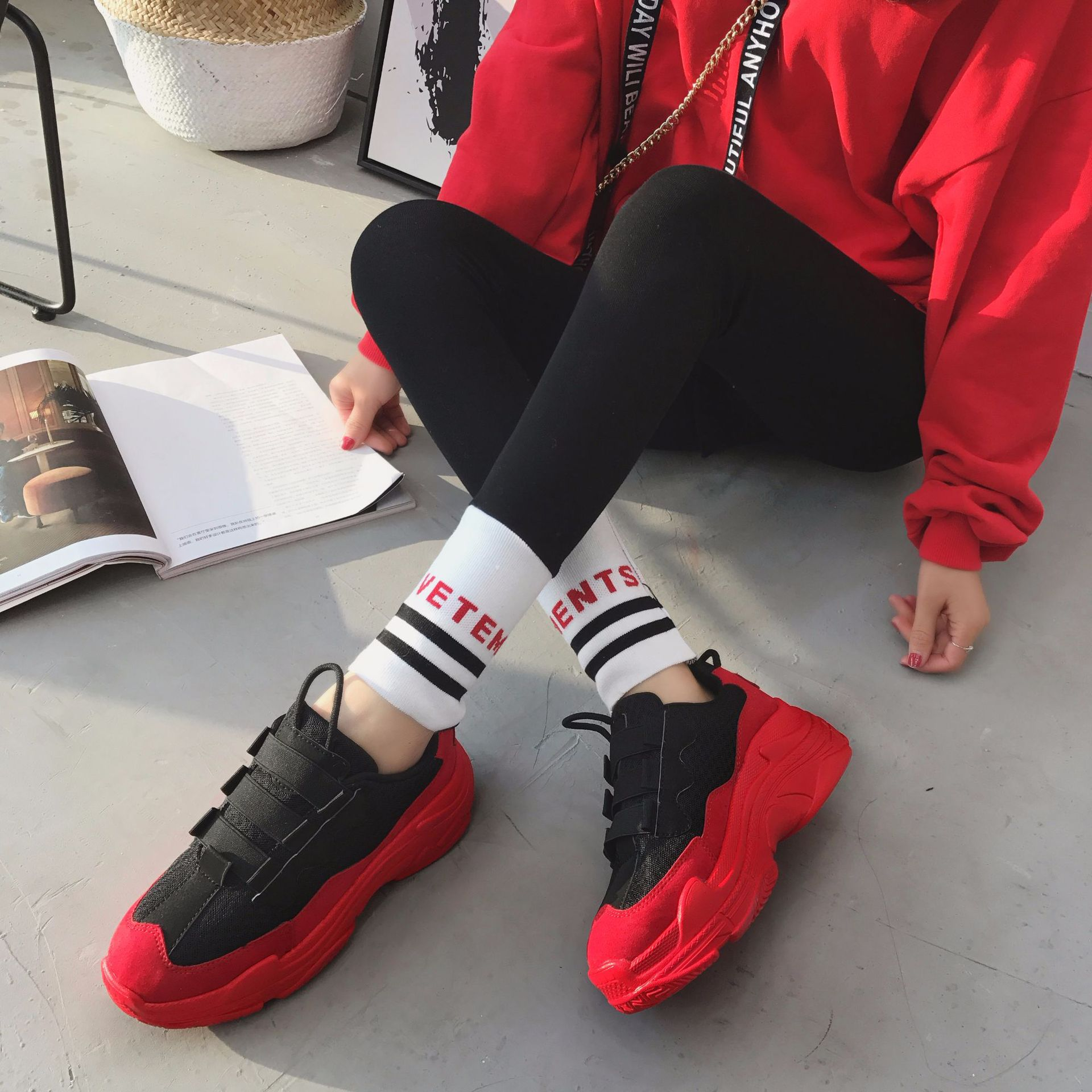 Mesh Womens High Platform Sneakers 2018 Fashion Women Red Black Dad Shoes Ladies Casual Chunky Footwear Women Chaussures FemmeMesh Womens High Platform Sneakers 2018 Fashion Women Red Black Dad Shoes Ladies Casual Chunky Footwear Women Chaussures Femme