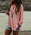 Simples Estilo Casual Chiffon T-Shirt Para As Mulheres Com Decote Em V Mulheres Soltas Verão Tops