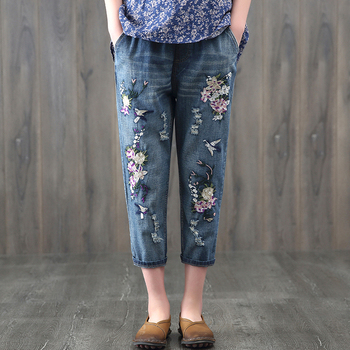 2019 Chinese Style Female Elastic waist embroidery Denim Pants jeans Wind vintage Loose Casual Denim Trousers harem Pants фото
