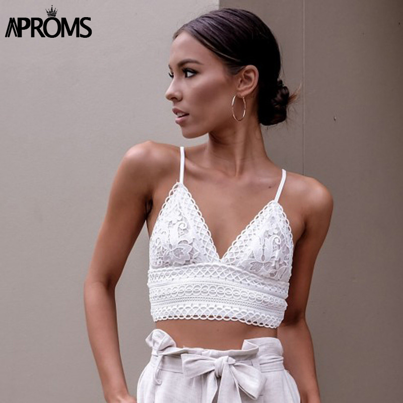 Aproms White Lace Crochet Camisole Cami Women Summer Backless Bow Tie Up   Tank     Tops   Female Streetwear Fashion 2019 Pink Crop   Top