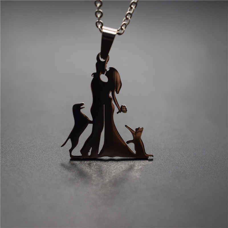 Elfin New Family Necklace Stainless Steel Lovers Couple Pendant Necklace Master with <font><b>Cat</b></font> <font><b>and</b></font> <font><b>Dog</b></font> Necklace Figure <font><b>Jewellery</b></font> image