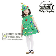 2016 Princess Girls Dress Baby Girls Clothes Cosplay Christmas Tree Dress Fancy Masquerade Party Costume Fantasia