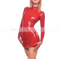 Women Red Latex Rubber Dresses Latex Club Wear Costumes Clothing Dress Catsuits LD087
