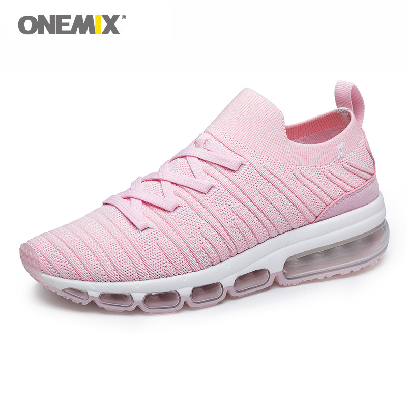 Onemix Sneakers for Woman Outdoor Walking Sneakers in Pink Loafer Lady Sock Sport Shoes 5cm High