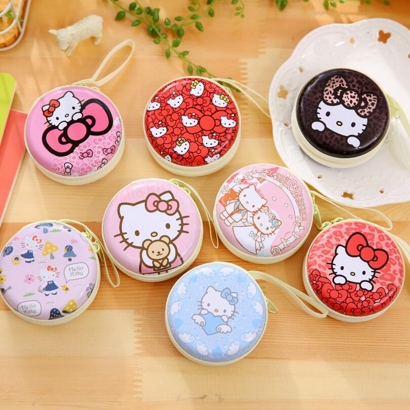 New Women Kawaii Mini Bag Cartoon Hello Kitty Coin Purse kids Girls Wallet Earphone Organizer Box Bags Christmas Gift cute cartoon women bag flower animals printing oxford storage bags kawaii lunch bag for girls food bag school lunch box z0