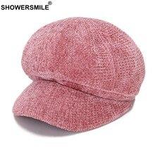 SHOWERSMILE tapa rosa las mujeres mono tapas boinas de algodón chico Baker  tapa damas Otoño Invierno aa12f9683bb