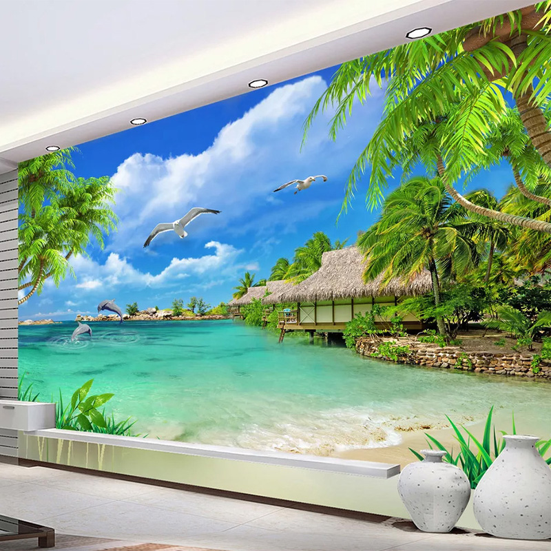 Custom Mural Wallpaper 3D Coconut Tree Sea Scenery Wall Painting Living Room TV Sofa Background Self-Adhesive Waterproof Sticker