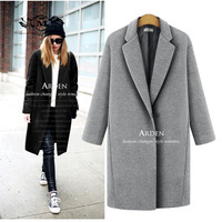 MELANASY 2017 Fall Winter Fashion Woman Woolen Coat Long Single Button Coats Loose Clothing Trend Coat
