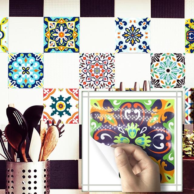 Funlife Mediterranean Retro Tile Sticker Waterproof Self Adhesive Wallpaper For Kitchen Bathroom Clic Home