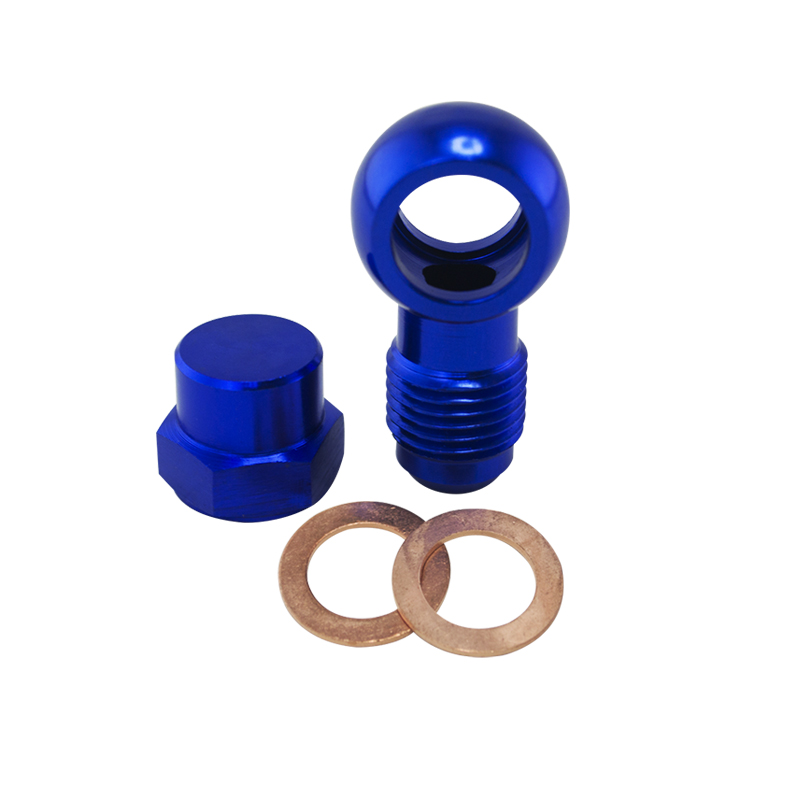 Pqy-alumínio azul 044 bomba de combustível an6 a 12.5mm tomada adaptador banjo montagem + tampa PQY-FK045BL + fk047-1