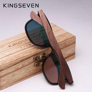 Image 3 - KINGSEVEN 2020 رجل النظارات الشمسية الاستقطاب الجوز الخشب عدسات عاكسة نظارات شمسية النساء العلامة التجارية تصميم ظلال ملونة اليدوية