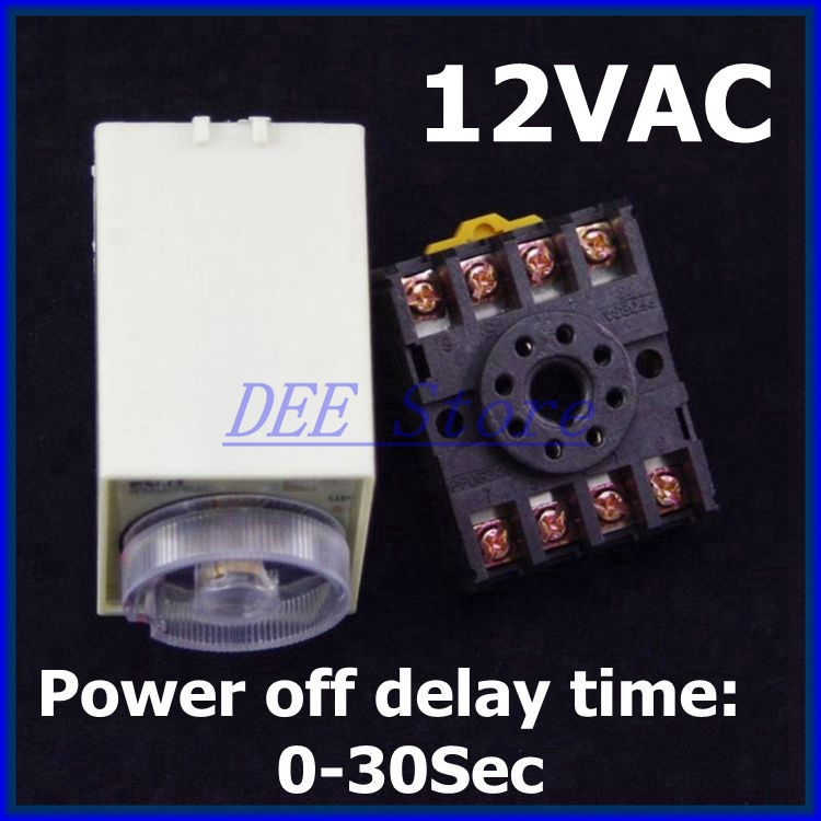 delay timer 12VAC ST3PF Power off time relay 0-30 seconds with PF083A Socket Base