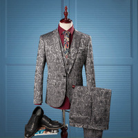 2017 3 stück männer Silber Anzüge Luxus Jacquard Formales Kleid Hohe Qualität männer hochzeit anzüge smoking Jacket + Pants + weste Plus Größe