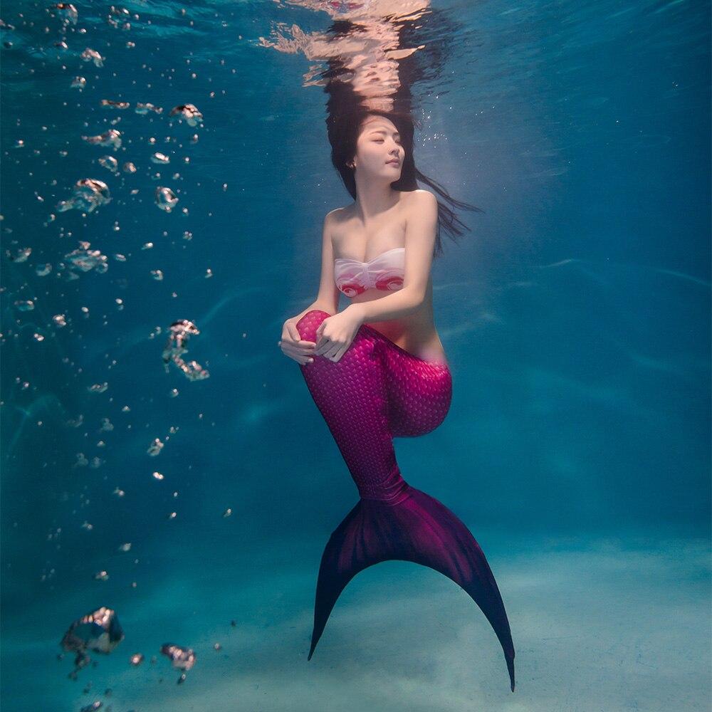3 Pcs/ensemble 2018 Nouveaux Adultes Baignade Femmes Sirène Queues Avec Monopalme Fin Femmes de Maillot de Bain Sirène Queue Costume pour Adulte de natation