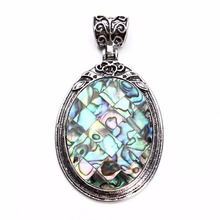 1pc 38X67mm Tibetan Antique Silver Color Shell Pendants Cabochon Natural Stone Opal Setting Base Bezel Cameo Tray