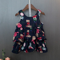 Baby Girls Summer Sleeveless Beach Dress Layered Dresses For Girl Print Color Flower Fruit Sky Blue