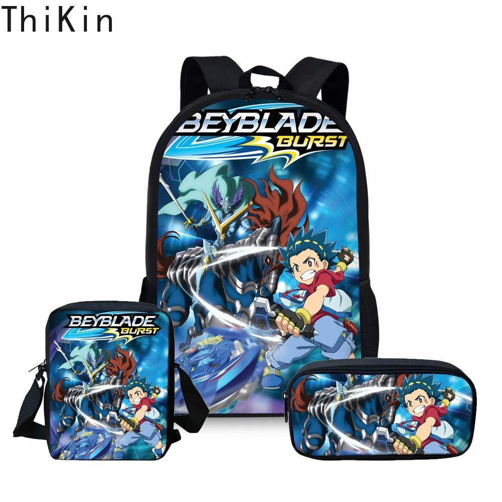 THIKIN Schoolbags Backpack Teenager Girls Boys School Bag Travel Beyblade Burst Prints Backpack Cartoon Book Bags Orthopedic