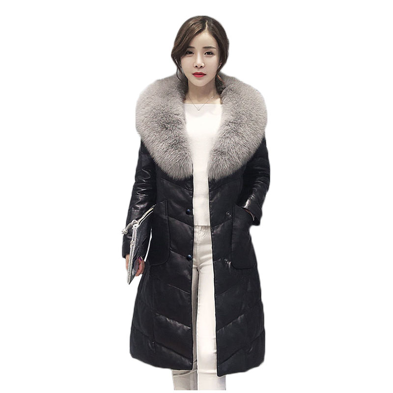 PU cuir femme Nouvelle veste D'hiver Femmes Vêtements En Cuir Veste Imitation fourrure de renard col femmes long chaud femmes En Fausse fourrure manteau